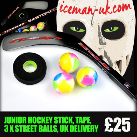 JUNIOR Street Hockey Stick, Tape and 3 x Street Hockey Balls, Starter Kit