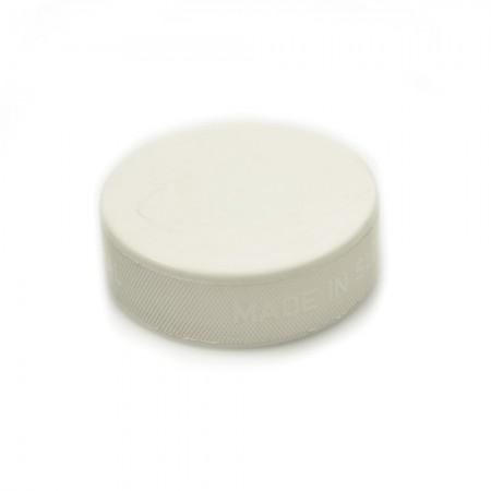 WHITE Hockey Puck, Genuine 163g vulcanised rubber puck in White.