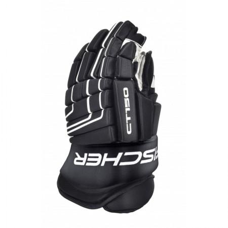 FISCHER CT150 JUNIOR and Senior Ice Hockey Gloves BLACK-WHITE