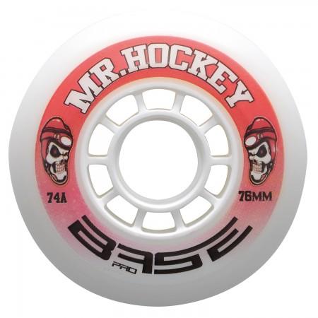 "BASE Indoor Wheel Pro ""Mr. Hockey"" - 74A - 4pc pack, inline skate wheel, white"