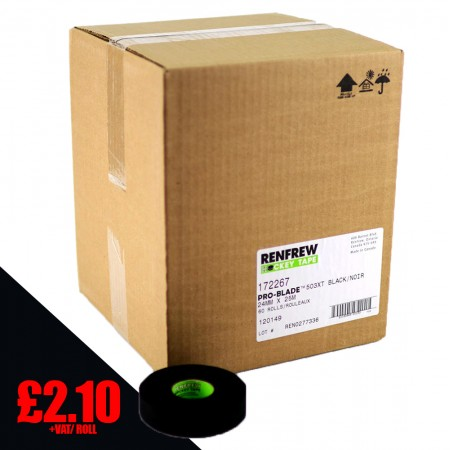 Stick Tape | NEW GREENCORE PRO XT - Renfrew Black ProXT Cloth Tape, Stick Tape (case of 60 rolls)