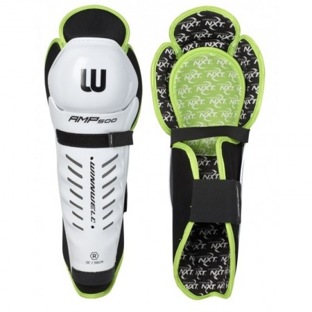 Winnwell GX4 shin pads, Ice Hockey Shin Pads, Lime & Black