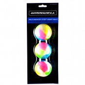 Street Hockey Balls MULTI-COLOURED balls, Inline Hockey Ball, 3 pack